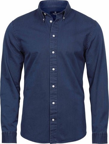 Long Sleeve Shirt - Long Sleeve Casual Cotton Twill Shirt
