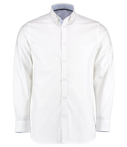 Long Sleeve Shirt - Long Sleeve Contrast Tailored Oxford Shirt