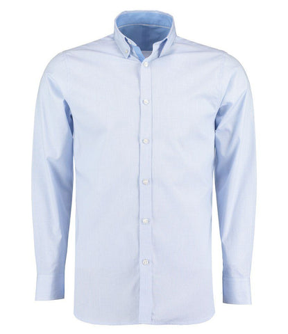 Long Sleeve Shirt - Microcheck Long Sleeve Tailored Poplin Shirt