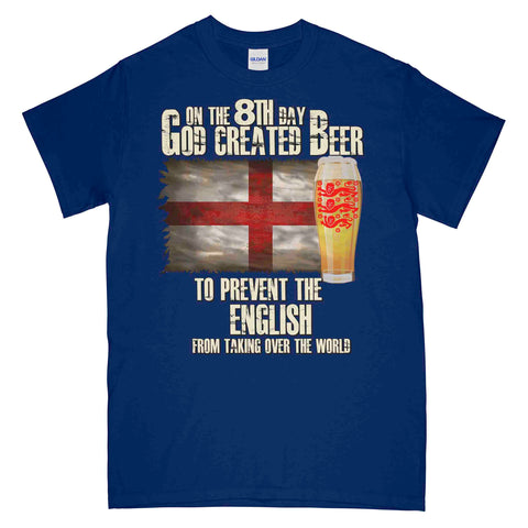 On The 8th Day God Created Beer For The English Printed T-Shirt