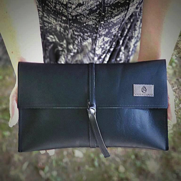 Black Leather Wraparound Clutch