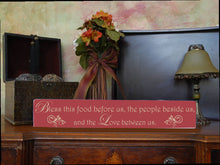 "MIX & MATCH Handcrafted Wooden Wall Sign, ""Bless this food before us, the people beside us, and the Love between us"" Approx. 4"" x 24"""