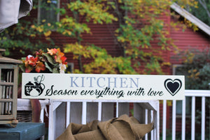 "Wooden Sign, ""Kitchen-Season everything with love"""