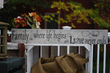 "Wooden Sign, ""Family...where life begins and love never ends"""