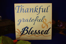 "Wooden Sign, ""Thankful, Grateful & Blessed"""