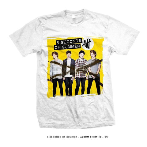 5 Seconds Of Summer Album Shirt 14 Whte Lg - Mens White T-Shirt