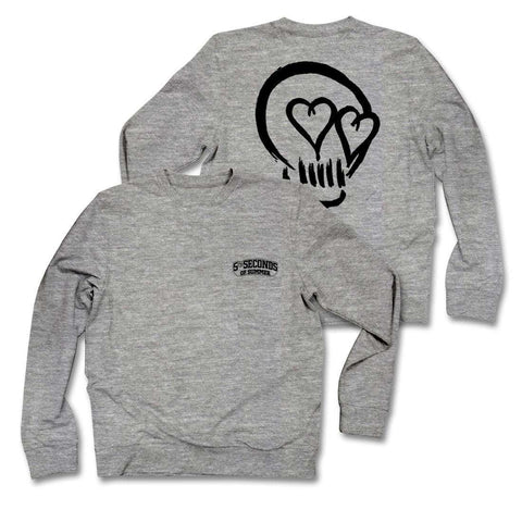 5 Seconds Of Summer Skull - Mens Heather Grey Crew Neck Fleece