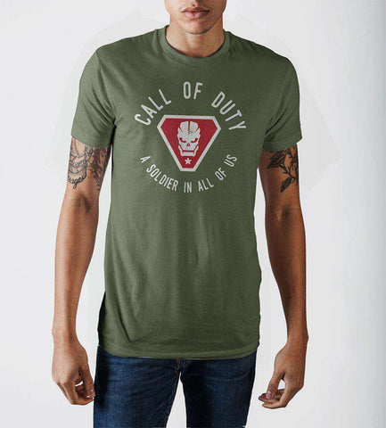 Call Of Duty A Solider In All Of Us Vintage Skull Badge Military Green Soft Hand Print T-shirt