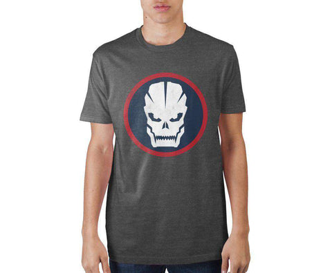Call Of Duty Circular Skull Charcoal Soft Hand Graphic Print T-shirt