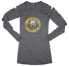 Image of Guns n Roses Distressed Logo Cut Long Sleeve Women's Tee