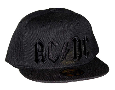 Hat - AC/DC Black On Black Logo Flat Bill Snapback Hat