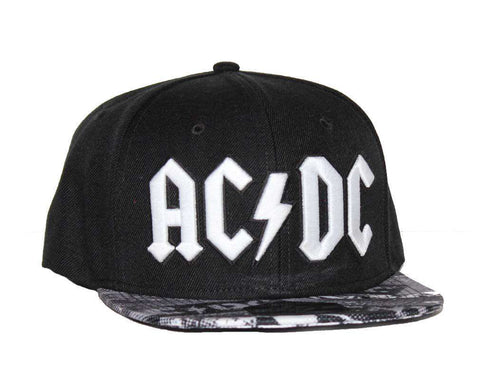 Hat - AC/DC Black Wool Blend Flat Bill Hat With Sublimated Visor