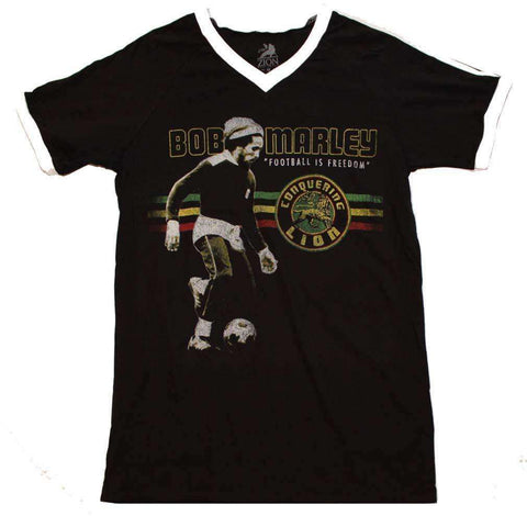 Men's T-Shirts - Bob Marley Football Is Freedom V-Neck Jersey