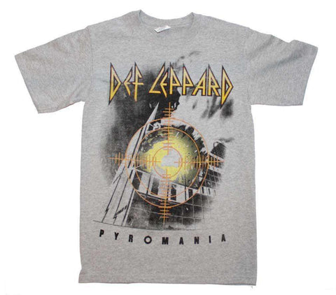 Men's T-Shirts - Def Leppard Target Pyromania Heather Gray T-Shirt