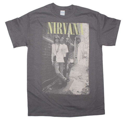 Men's T-Shirts - Nirvana Brick Wall Alley Photo T-Shirt
