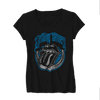 Image of Rolling Stones Blue Light Tongue Logo - Mens Black T-Shirt
