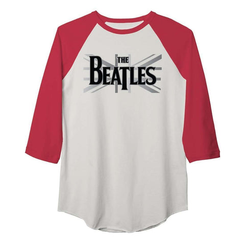 The Beatles Union Jack - Mens White Body/Red Sleeve T-Shirt