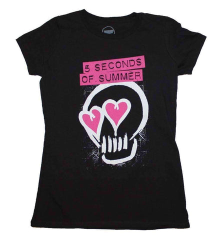 Women's T-Shirts - 5 Seconds Of Summer Pink Heartskull Junior's T-Shirt