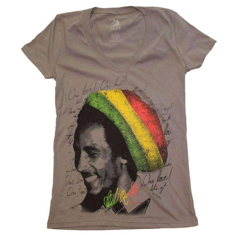 Women's T-Shirts - Bob Marley Rasta Tam V-Neck Junior's Tee