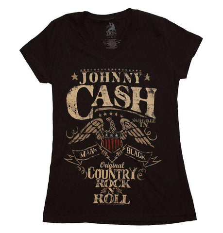 Women's T-Shirts - Johnny Cash Country Rock Juniors T-Shirt