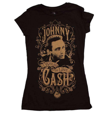 Women's T-Shirts - Johnny Cash Walk The Line Junior's T-Shirt