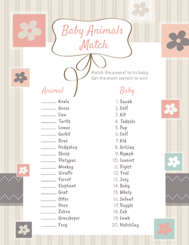 Baby Animals Baby Shower Game Printable PDF