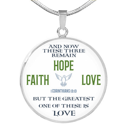 "Circle Necklace ""Faith Hope Love"""