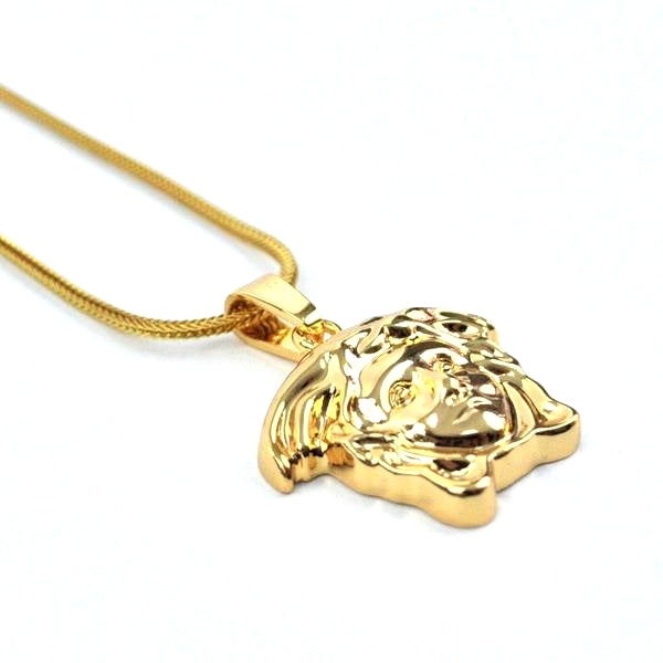 Gold Versace Medusa Pendant Necklace