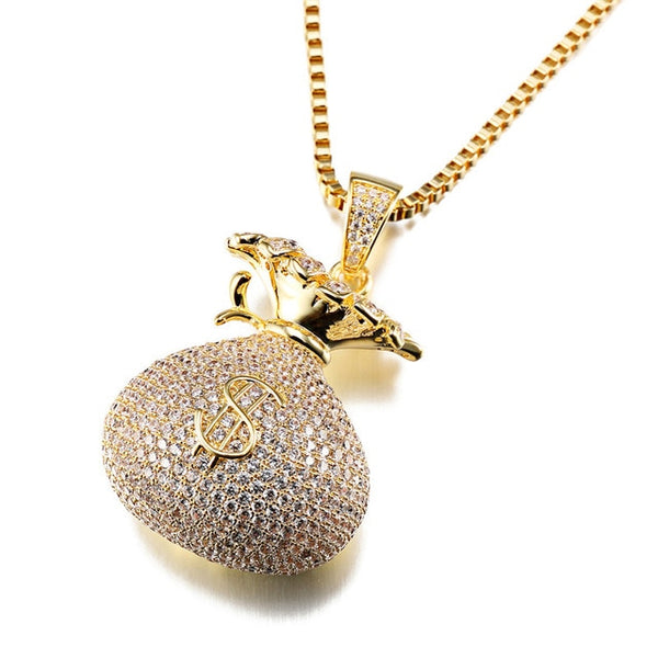 Iced Out Money Bag Pendnant Necklace