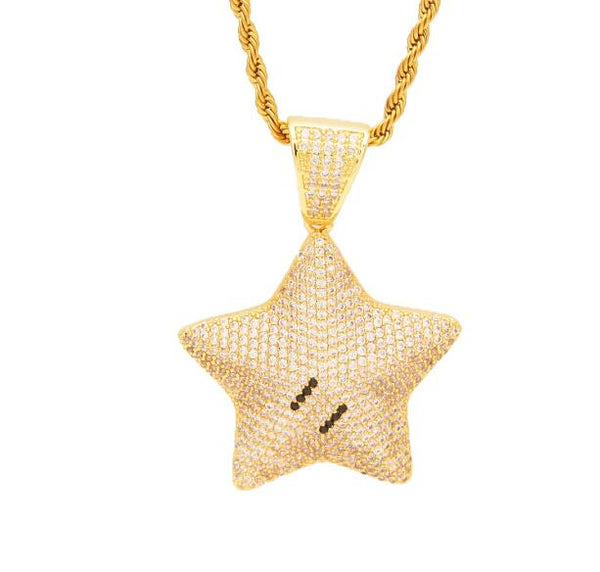 Gold/Silver-Bling-Star Pendant-Necklace-Luxury-Fashion-Co