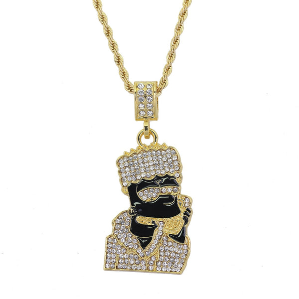 FREE-Gold-Bart-Simpson-Money-Talk-Pendant-Necklace-Luxury-Fashion-Co