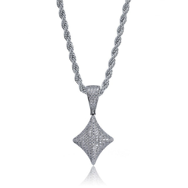 Iced Out Poker Pendant Necklace