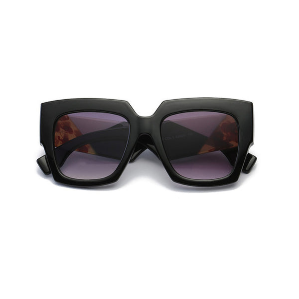 Vintage Oversized Black Pink Thick Frame Sunglasses