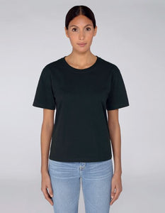 TrulyRocks Womens 'Just breathe' Black Short Sleeve T-shirt in Organic Cotton - TrulyRocks