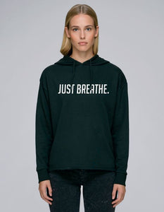 TrulyRocks Womens 'Just breathe' Black Hoodie Sweatshirt in Organic Cotton - TrulyRocks