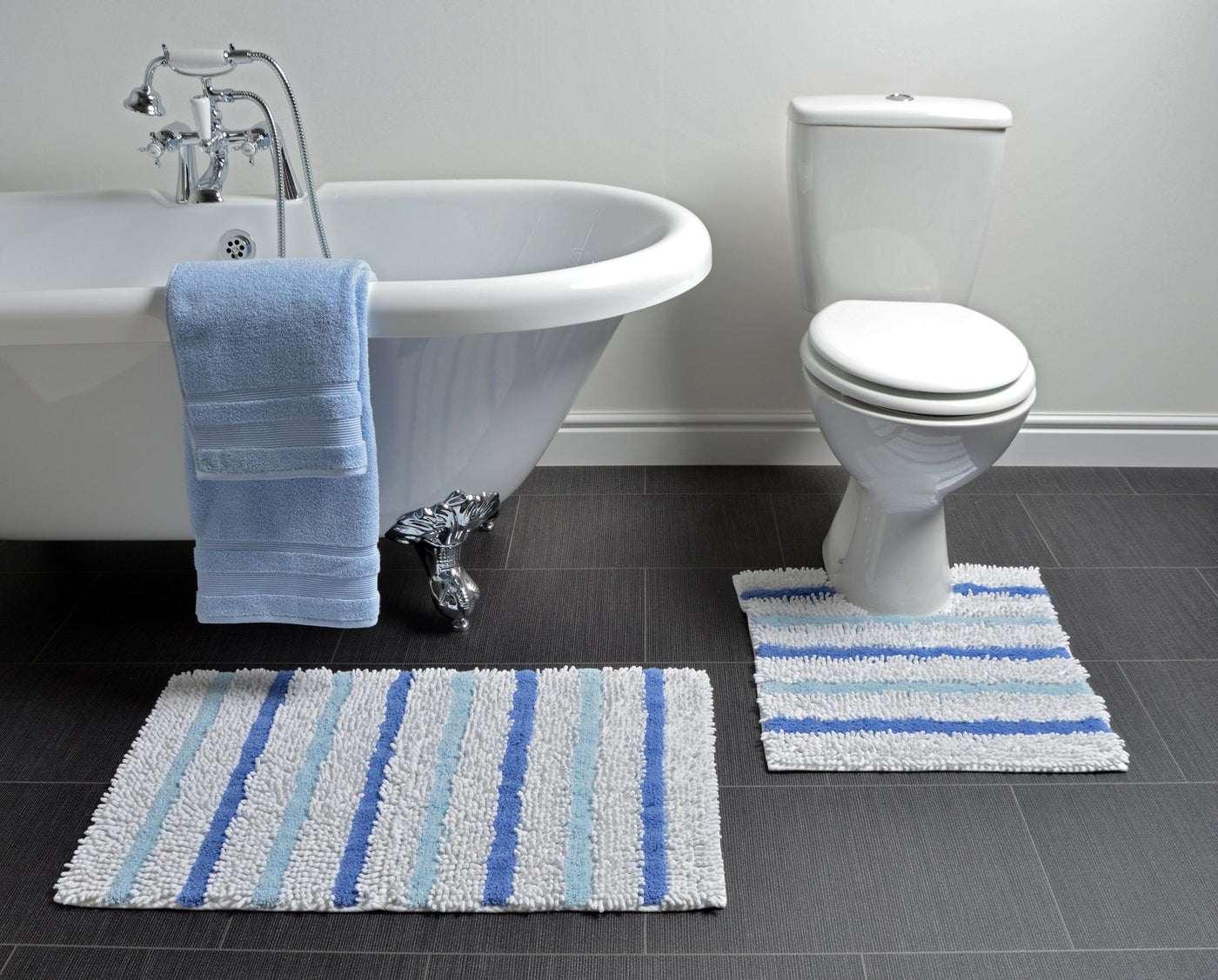 2 piece bath mat sets - blue striped