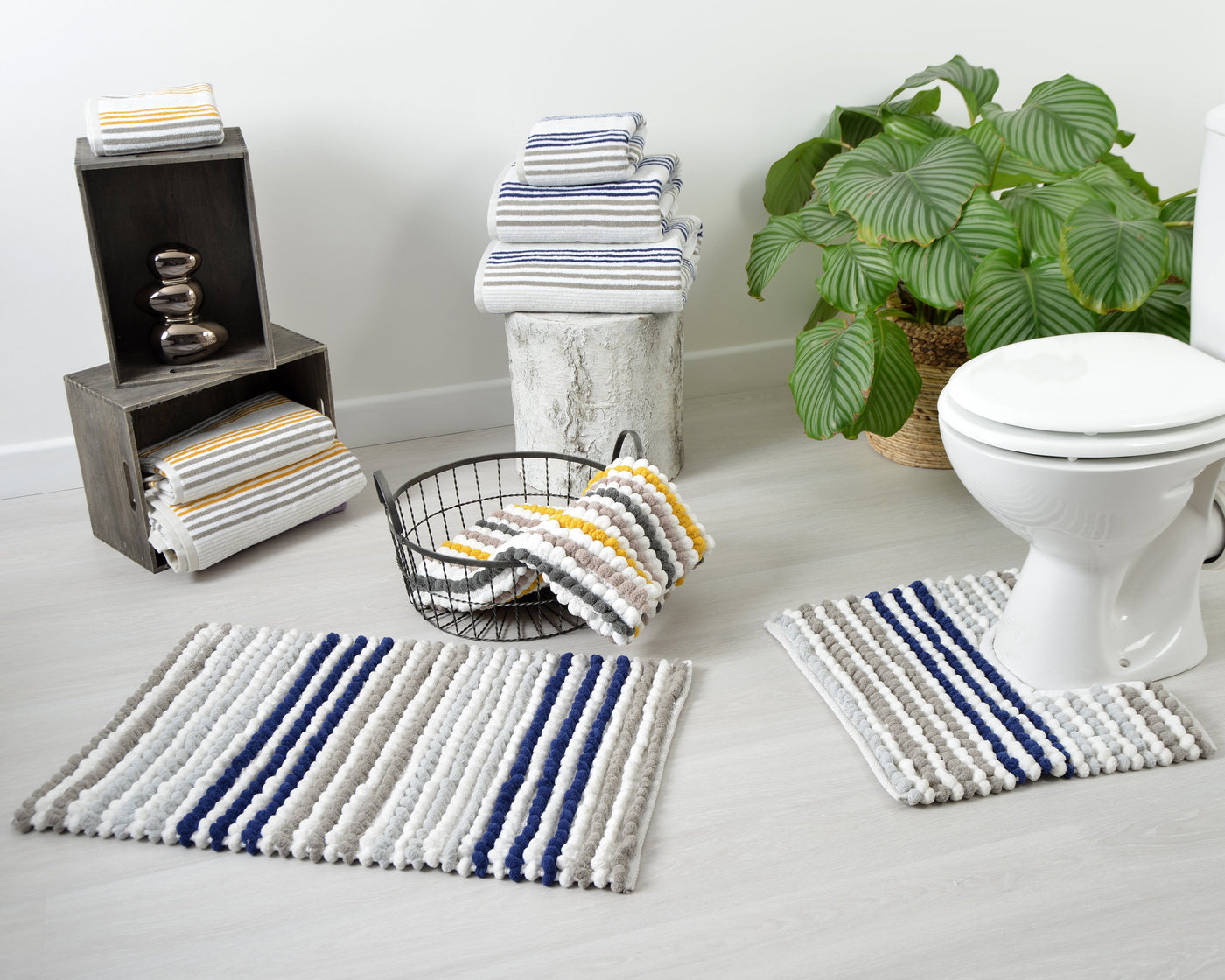 Merlin - Striped Towels and Bath Mats