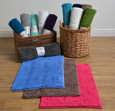 Chenille Bath Mat Supersoft Microfibre & Non-Slip - bathroom mats