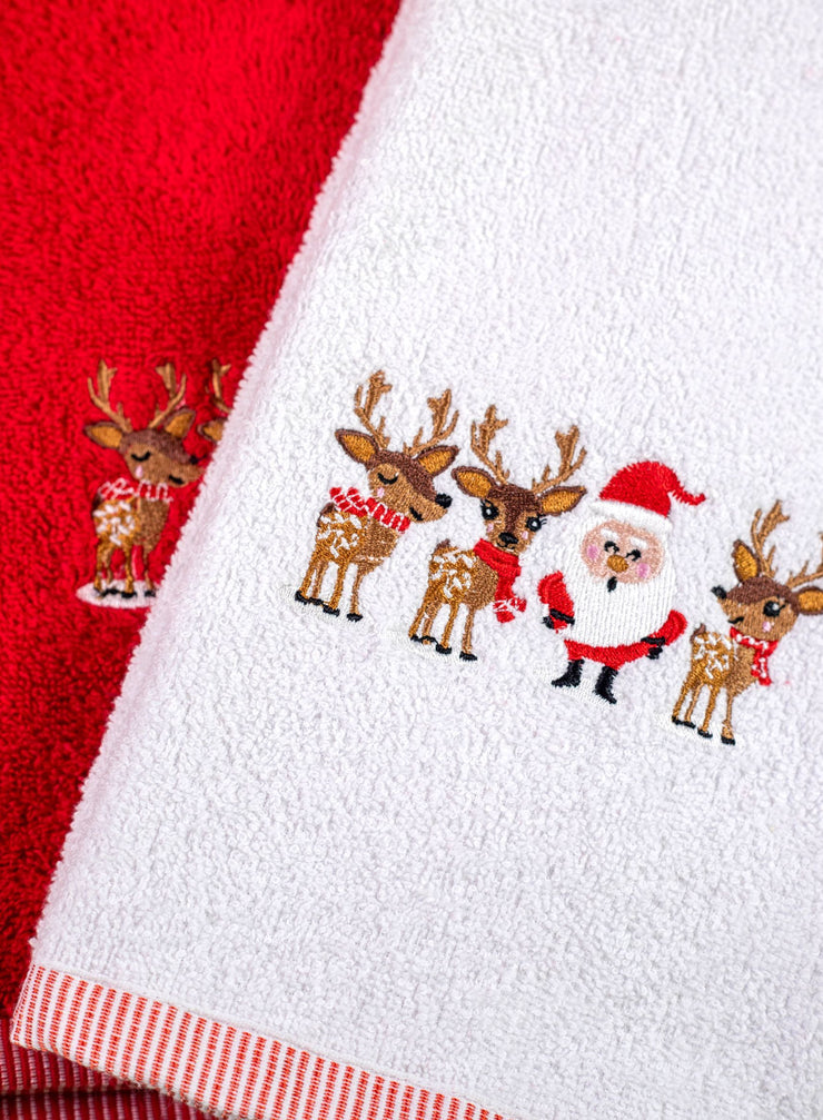 Christmas Santa Two Pack Towels Guest Hand Tea Towel