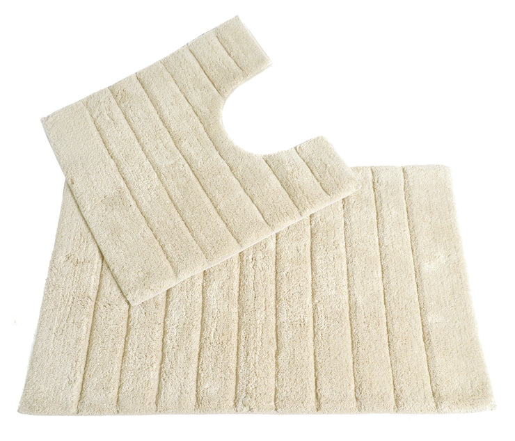 Luxury Bath Mat and Pedestal Set in Linear Ribbed Design