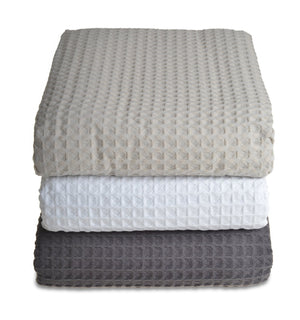 Hotel Sedona Waffle Cotton Throw Taupe White Graphite Grey