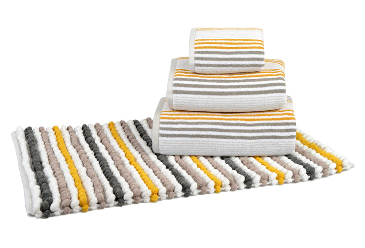 Pom Pom Bath Mat in Merlin Stripe