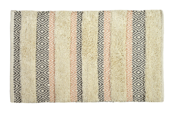 Capri Geometric Design Bath Mat Blush