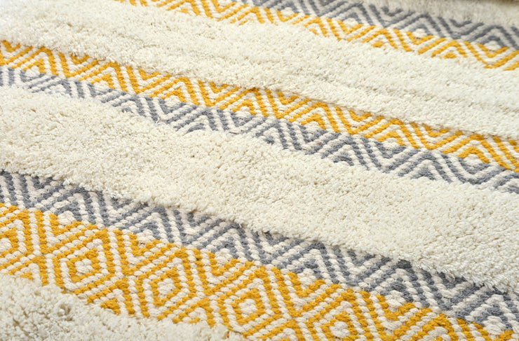 Capri Geometric Design Deep Pile Bath Mat Mustard Yellow