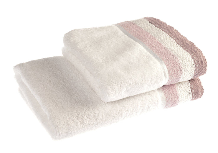 Lauren Lace Edge Vintage Cotton Bath Towels - Allure Bath Fashions