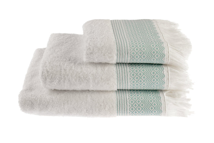 Cotton Diamond Jacquard Tasseled Fringe Bathroom Towels Peppermint
