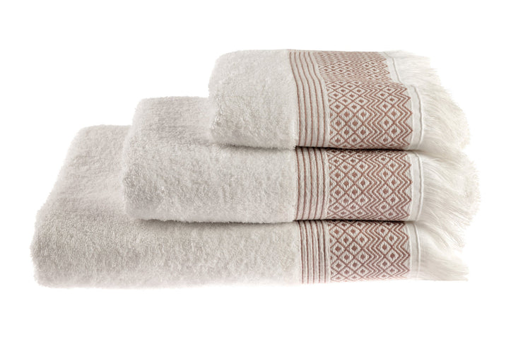 Cotton Diamond Jacquard Tasseled Fringe Bathroom Towels Mauve