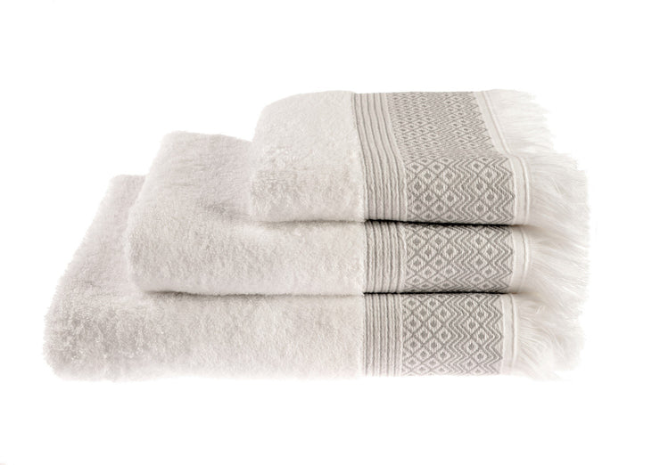 Cotton Diamond Jacquard Tasseled Fringe Bathroom Towels Grey