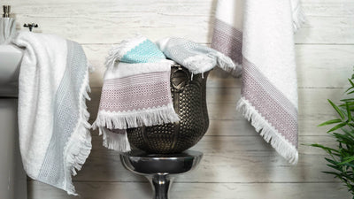 Cotton Diamond Jacquard Tasseled Fringe Bathroom Towel