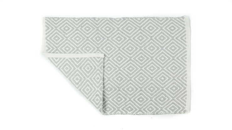 Hand-Woven Diamond Jacquard Bath Mat Grey